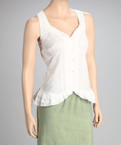 Take a look at this White Embroidered Sleeveless Top by Papillon Imports on #zulily today!