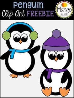 2 winter penguins dressed for the snow!  The set includes both color, and black-and-white PNG images.