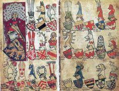 «Wapenboek Gelre» or «Armorial du héraut Gelre» (GEL), 1370-1386 [KBR Ms 15652-56] -- Original à la Bibliothèque royale de Belgique (Bruxelles) -- Non consultable.