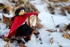 This is Little Red. She is a doll made of pipe cleaners, embroidery floss and felt. She is loosely based on Sally Mavor's book, Felt Wee Folk. Since many of you were unable to get hold of a copy, … Waldorf Dolls, Red Riding Hood, Little Red, Tulips, Folk, Embroidery, Christmas Ornaments, Studio, Holiday Decor