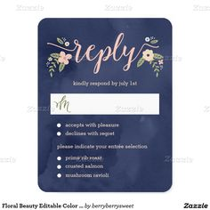 """Floral Beauty Editable Color Wedding RSVP Card 4.25"""" X 5.5"""" Invitation Card"""