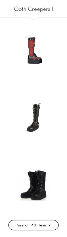 """""""Goth Creepers I"""" by creaturefeaturerules ❤ liked on Polyvore featuring shoes, boots, gothic shoes, zipper boots, gothic platform boots, goth shoes, goth boots, creeper shoes, wide black boots and lace up platform boots"""