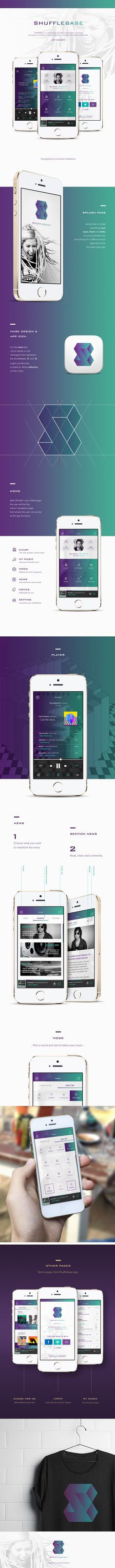 ShuffleBase is a startup that operates in music streaming and wants to position itself on market as a competitor to established brands. Mobile Web Design, App Ui Design, Interface Design, Flat Design, Interface App, App Promotion, App Login, Software, Music App
