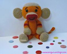 Amigurumi To Go!: Orange Monkey Free Crochet Pattern Sock Monkey.