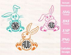 Easter Bunnies (Font not include), Baby, Kid, Cutting File in SVG, ESP, DXF and PNG Format for Cricut and Silhouette