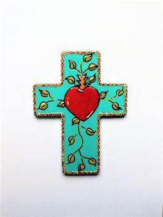 Cross crosses red heart Mothers day gift religious art gift