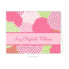 Pink Mums personalized folded note card