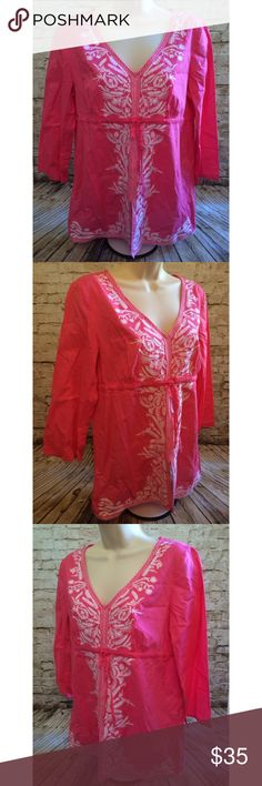 Michael Kors pink boho embroidered peasant top Really pretty and romantic.  Sz M.  3/4 sleeves. Approximate Measurements lying flat:   Chest (armpit to armpit): 19 inches Length (shoulder to hem): 27 inches   Smoke free home. Michael Kors Tops Blouses