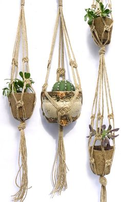 "handmade hemp macrame plant hangers w/ brass ring for hanging   from left to right: double knot, 45"", single knot, 45"", double tier, 75"""