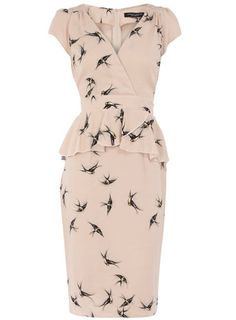 Nude smudge swallow print peplum dress...I want this dress!