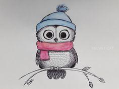 Ilustración búho a bolígrafo y acuarela. Ilustration watercolor owl…
