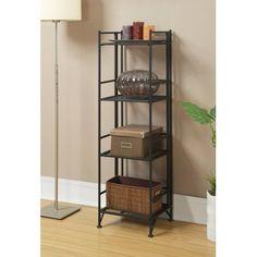 Convenience Concepts Designs2Go Metal Folding 4 Shelf Bookcase, Multiple Finishes