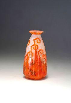 Glass Vase, French, Design, Decor, Art Deco, African Art, Modern Art, Art Nouveau, Auction