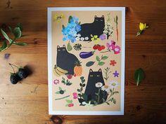 Black Cats A4 Print - Cat print - Cats - I like cats - Cat illustration - Cat art - Black Cats - Wall art - Home decor - Flowers - Cat gifts