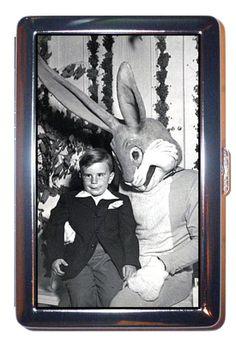 1950's creepy, creepy Easter Bunny & nervous little boy.