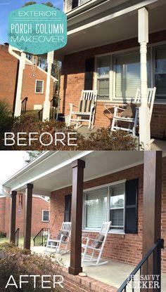 New farmhouse porch remodel columns ideas Front Porch Pillars, Porch Beams, Front Porch Posts, Front Porch Railings, Wood Columns Porch, Diy Exterior Columns, Front Porches, How To Build Porch Columns, House Columns