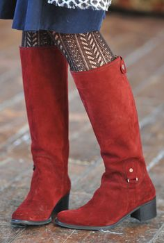 Perfect! Soft Suede Boots and Patterned Stockings