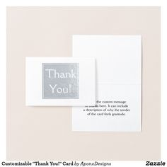 """Shop Customizable """"Thank You!"""" Card created by AponxDesigns. Thank You Greeting Cards, Thank You Greetings, Appreciation Cards, Personalized Note Cards, Paper Envelopes, Colored Paper, Cards Against Humanity, Messages, Nice"""