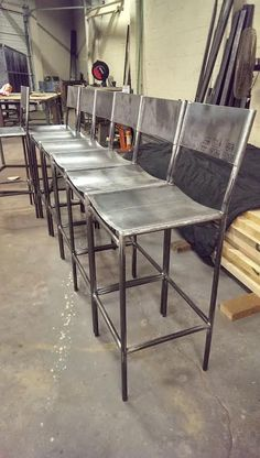 Steel Bar Stool by MetalFredDesigns on Etsy Iron Furniture, Steel Furniture, Custom Furniture, Furniture Design, Industrial Office Design, Industrial Stool, Industrial Furniture, Wood Steel, Steel Bar