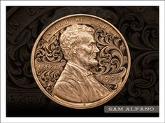 Sam Alfano engraved this 1909 penny, surrounding Abe Lincoln with a whorl of scrollwork.