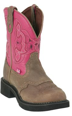 "Justin® Ladies Gypsy™ Collection Boots Brown with Fuschia 8"" Top"