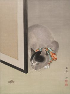 Cat watching a spider, 19th century. Ōide Tōkō (Japanese, 1841-1905) Ink and color on silk; album leaf. The Metropolitan Museum of Art, New York.