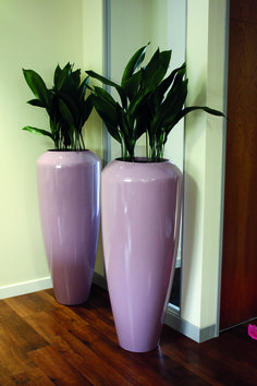 Baby Pink / Lilac Dune Planters used as hallway pieces.