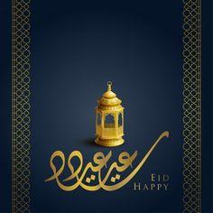 Premium Vector | Eid mubarak islamic greeting in arabic calligraphy Happy Eid Mubarak, Islamic, Vector Free, Greeting Cards, Arabic Calligraphy, Mosque, Lantern, Illustration, Celebration