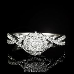 14k White Gold Twisted 1/2ctw Diamond Cluster Engagement Ring with Round Bezel with Surprise Diamonds