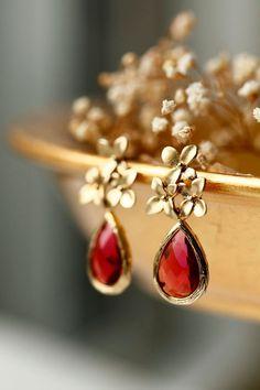 Secret Garden by LakooDesigns - beautiful flower red ruby earrings for red lovers!