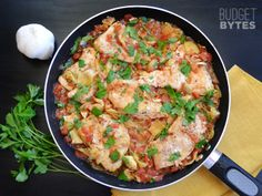 Artichoke Chicken Skillet - Budget Bytes  Only about $1o, fast and easy, one dish mess, lemony
