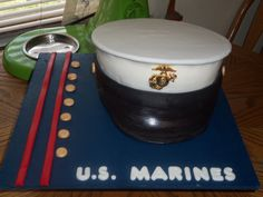 Would love to make this for Conor. Marine Corps Cake, Marine Corps Birthday, Navy Marine, Army & Navy, Teacher Appreciation Centerpieces, Army Cake, Hat Cake, Navy Hats, Us Marines