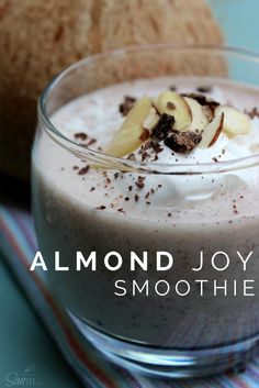 This Almond Joy Smoothie tastes just like the candy bar that it's inspired by. The best part it that it is made with just four simple ingredients. Apple Smoothies, Yummy Smoothies, Yummy Drinks, Healthy Drinks, Smoothie Recipes, Yummy Food, Homemade Smoothies, Smoothie Bar, Fun Drinks
