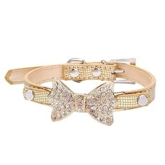 Diamonds Rhinestones Dog Puppy Adjustable Collar For Small Or Medium Pet Collar gold *** Find out more about the great product at the image link. (This is an Amazon affiliate link)