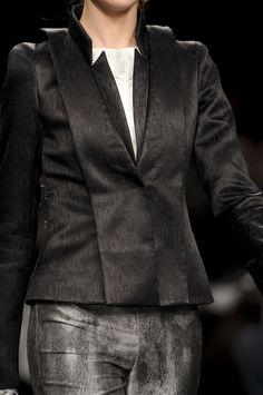 Sleek black jacket with inverted lapels; runway fashion details // Byblos Fall 2011