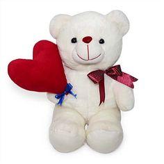 White Heart Held Teddy Bear