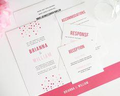 Confetti Wedding Invitation, Pink Wedding Invitation, Pink Wedding Invite with Polka Dots - Cascading Dots Design - Sample Set