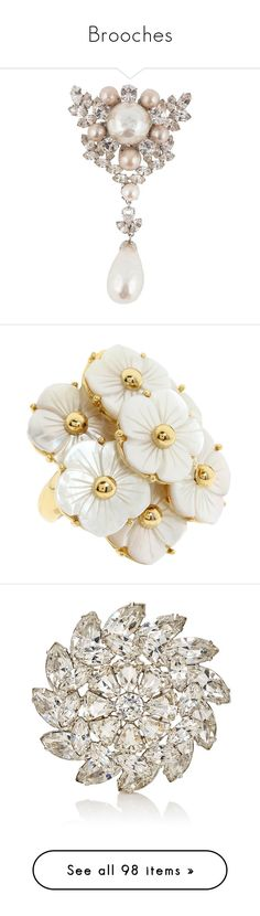 """Brooches"" by theprissydiary ❤ liked on Polyvore featuring jewelry, brooches, brooch, beige, leaf brooch, initial brooch, letter jewelry, initial pins brooches, initial jewelry and rings"