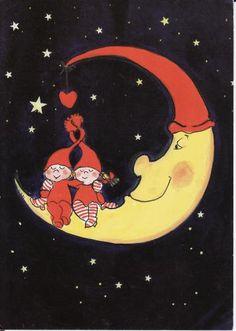Postcard travelled km miles) in 5 days (from Finland to Ukraine) Star Illustration, Creation Photo, Paper Moon, Good Night Moon, Moon Magic, Sun And Stars, Beautiful Moon, Moon Art, Art Journal Inspiration