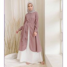 Fit to L LP : P : Bahan : Mosscrepe Premium (kancing de. by Syari Gamis Jaket Casual Hijab Outfit, Hijab Chic, Abaya Fashion, Fashion Dresses, Motif Photo, Overall Jumpsuit, Moslem Fashion, Muslim Dress, The Dress