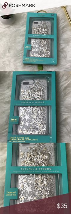 Kate Spade Case Playful & Strong Liquid Glitter Nw Kate Spade Case Playful & Strong in Liquid Glitter with Gold and Silver Stars- NWT.  This case has been drop tested up to 5 feet.   This case fits the following phones:  -iPhone 7 Plus -iPhone 8 Plus  Thanks for looking! kate spade Accessories Phone Cases