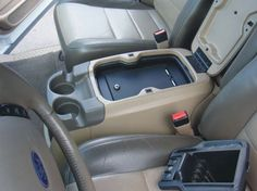 Ford Floor Console Vault: 2004 - in-vehicle safe comes in three available lock options, one featuring a high-security barrel key lock, one featuring our unique three-digit keyless lock, and the other a four-digit keyless lo Ford Excursion Diesel, 2000 Ford Excursion, Jeep Mods, Truck Mods, Ford Diesel, Diesel Trucks, Car Interior Accessories, Truck Accessories, New Trucks
