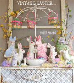 Shabby easter decor, so beautiful, paper mache bunnies