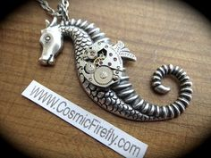 Steampunk Antiqued Silver Seahorse Necklace by leta
