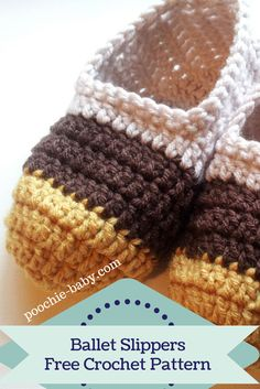 Quick and Easy Crochet Ballet Slippers for Women and Teens | Free Pattern at http://poochie-baby.com | So many color combinations are possible!