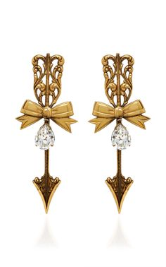 Shop Antique Gold Tailored Bow And Arrow Earrings. These **Rodarte** earrings feature pointed arrows silhouette with a bow and Swarovski crystal detail. Arrow Earrings, Women's Earrings, What Is Fashion, Jewel Box, Statement Jewelry, Designing Women, Antique Gold, Jewelry Collection, Vintage Inspired