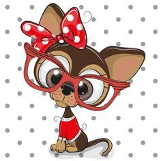 Cute Cartoon Puppy with red glasses on a dots background Cute Cartoon Eyes, Yorkie Puppy, Online Pet Supplies, Chihuahua Love, Happy Puppy, Trendy Wallpaper, Cute Drawings, Cute Pictures, Cute Animals