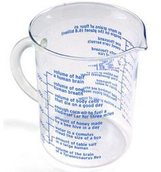Need this!  Equal Measure Measuring Cup.  Who knew that a bus-sized cumulus cloud only has about a cup of water (or 250-ish ml, for the lab rats and Europeans).  Cool!
