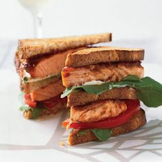 Grilled Salmon Club Sandwiches // More Amazing Healthy Fish Recipes: http://www.foodandwine.com/slideshows/healthy-fish #foodandwine