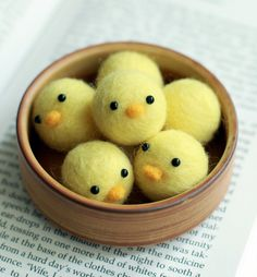 Needle Felted Little Baby Chicks Handmade - Container provided. $20.00, via Etsy.